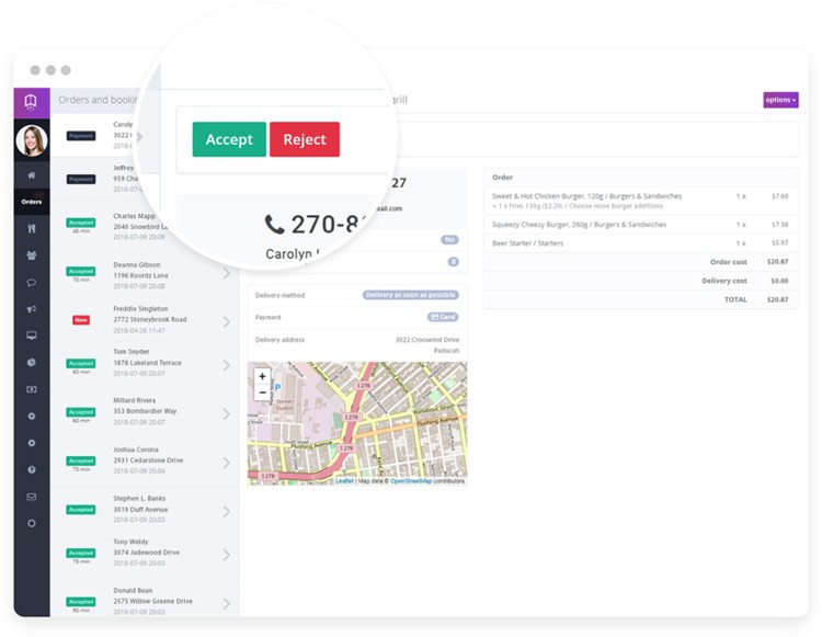 """Dashboard online ordering system with screen for receiving online orders, order data and """"accept"""", """"reject"""" buttons."""