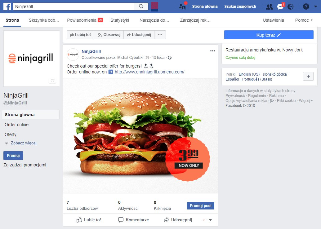 restaurant facebook profile example