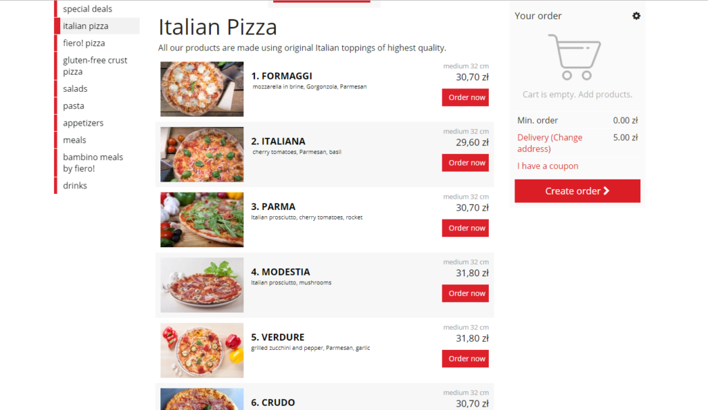 Screen of online ordering system and restaurant marketing strategies execution