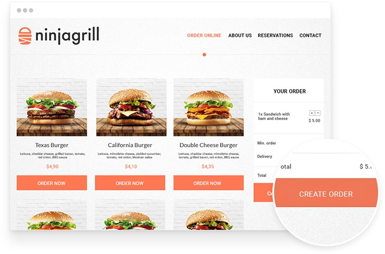 Online food ordering system on restaurant website with burger photos.