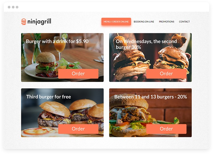Food promotions on the restaurant website with burger photos.