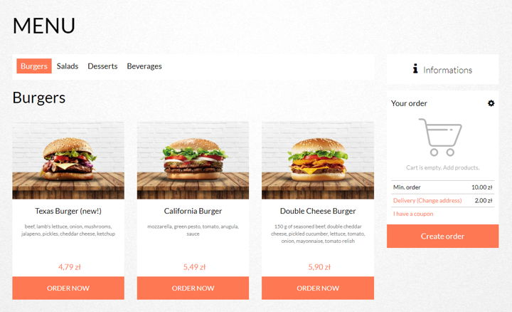 UpMenu online ordering system, burger photos and CTA buttons on the restaurant website.