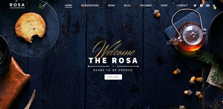 Rosa restaurant website theme with navigation and CTA button.