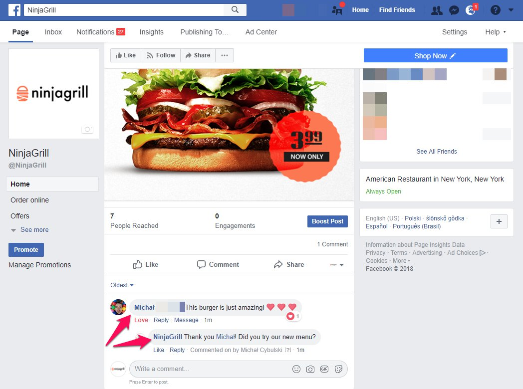 Facebook page ideas and online restaurant marketing.
