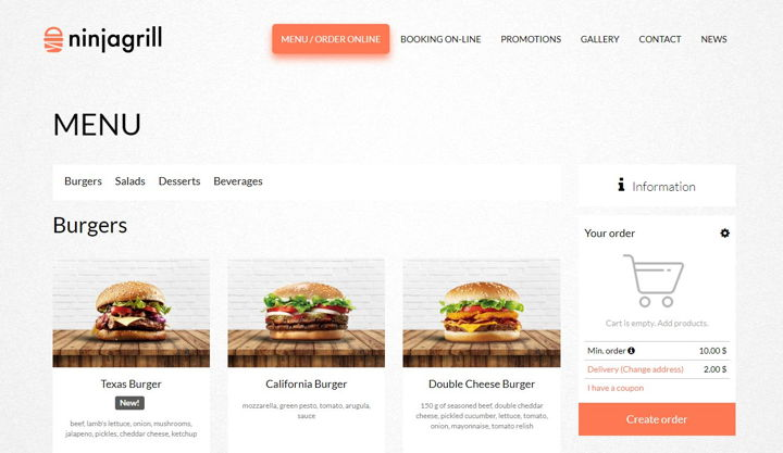Online food delivery website template by UpMenu, burger menu with the possibility of ordering.