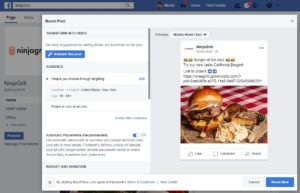Screenshot of ordering through Facebook page - exceptional restaurant marketing idea to boost sales.