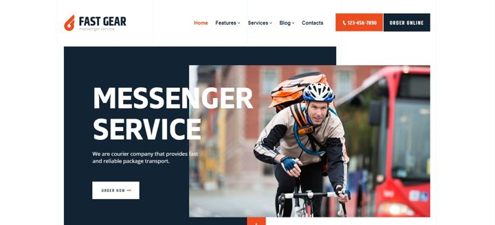 Online food delivery website template with a man who carries food on a bicycle.