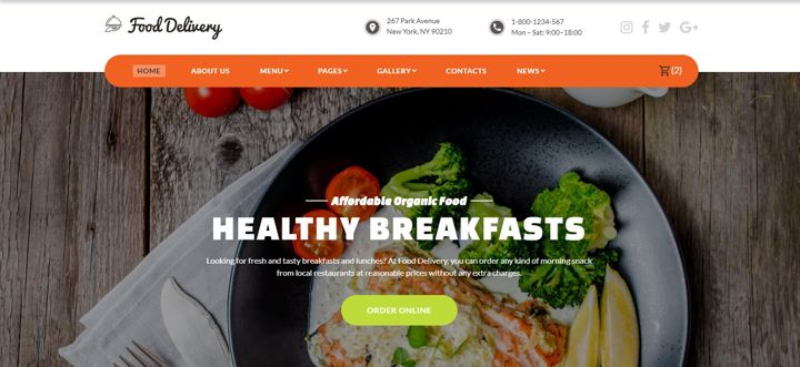 Restaurant website with a healthy breakfast photo, navigation and CTA button.