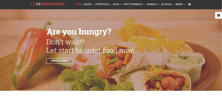 Restaurant website with a picture of tortilla with chicken, lettuce and tomato.