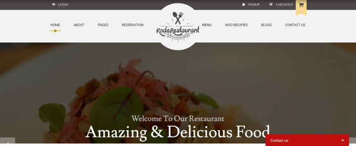 Dark restaurant website with photo of the dish, navigation and title.