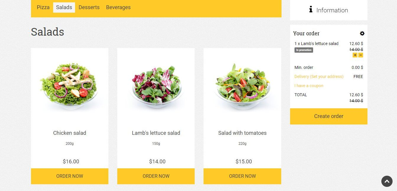 Promotion engine use example for salad promotional campaign