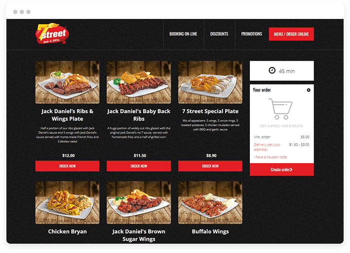 one page restaurant website for grill bar