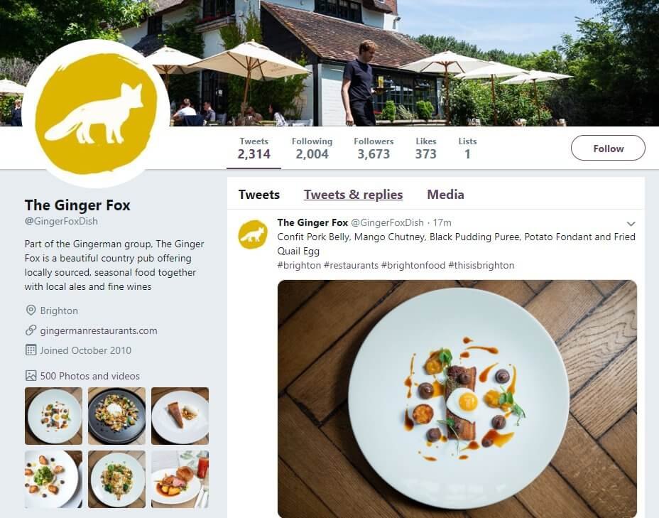 Great restaurant social media opportunity for communication with customers and brands - Twitter