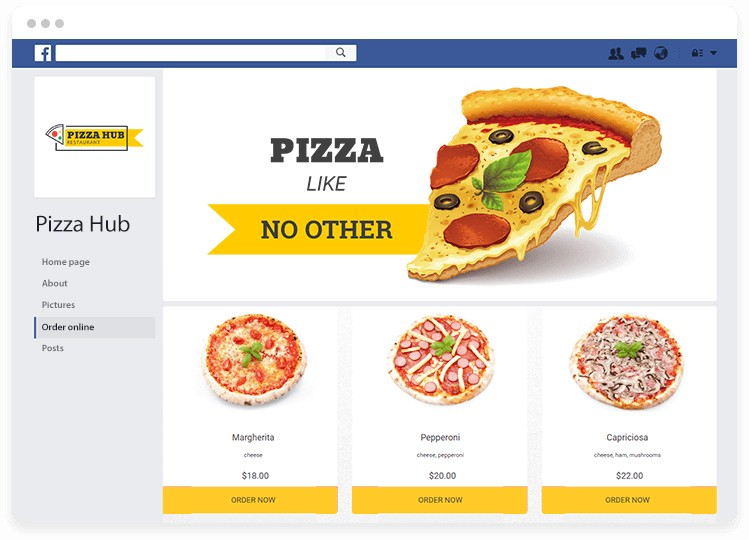 Restaurant Facebook page with online food ordering system. In the pictures, pizza can be ordered online.