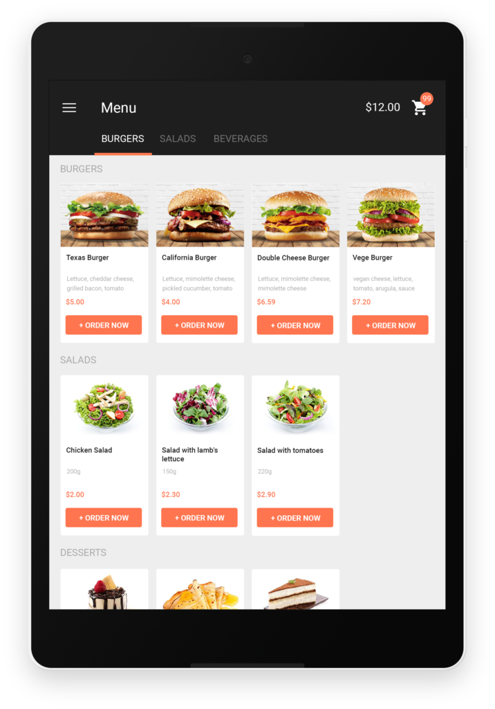"Tablet with online food ordering app for restaurants, burgru photos and orange ""order"" buttons."