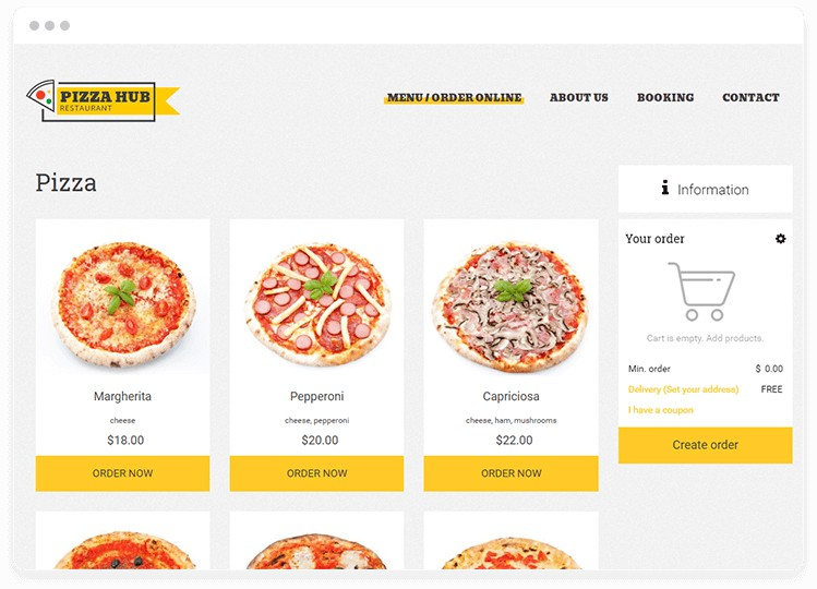 "Automated restaurant ordering system on restaurant website with pizza photos and yellow ""order"" buttons."