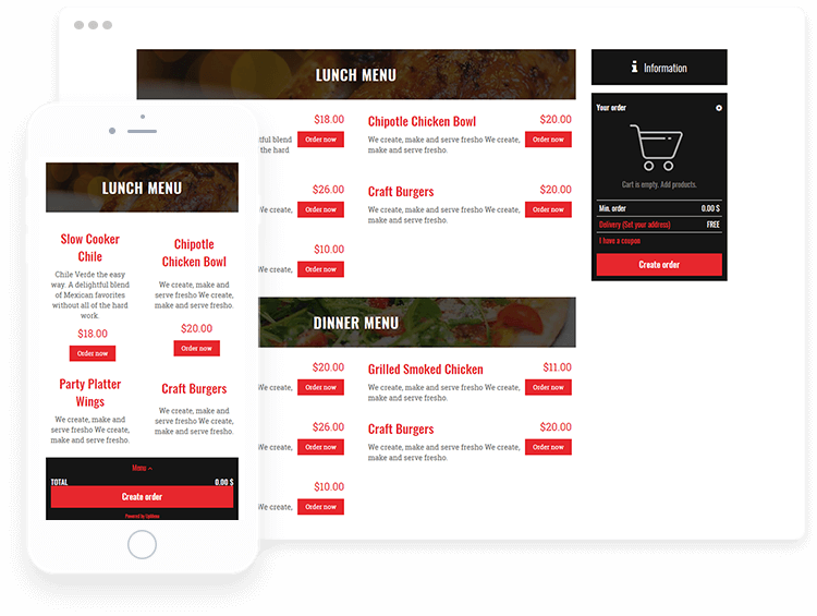 Spread shoot of menu created with WordPress template