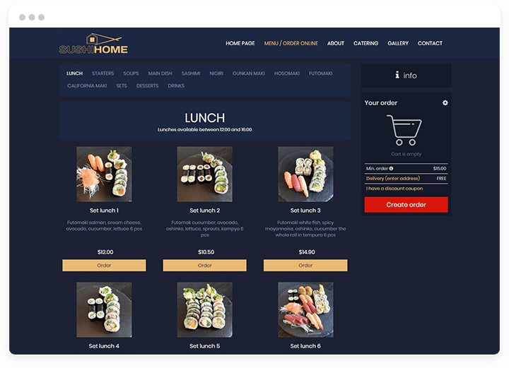 "Website automated ordering system for sushi restaurant, with sushi photos and golden ""order"" buttons."