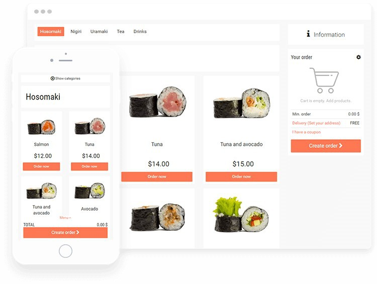 Best wordpress menu theme for sushi restaurant on the website, with sushi photos.