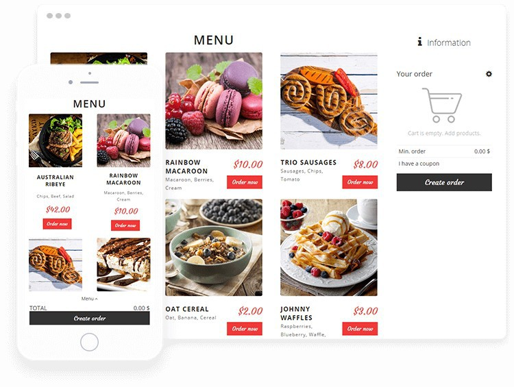 Bright WordPress theme menu with pictures of sweets.