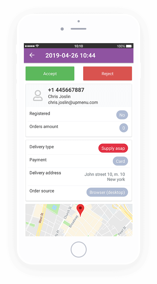 delivery processing in restaurant order taking app for android