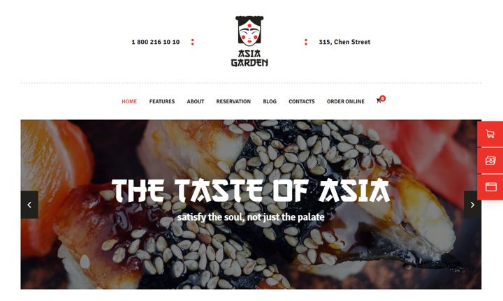 Asia garden restaurant website template.