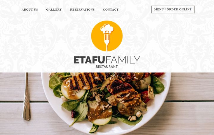Etafu best restaurant website template for home-styled eatery.