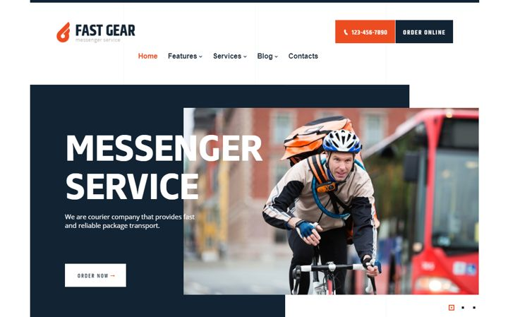 Fast Gear restaurant website template with deliveries.