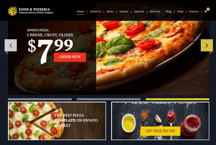 food & pizzeria best website theme