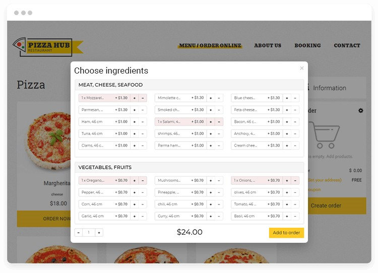 Add-ons recommendation pop-up in online pizza ordering system.