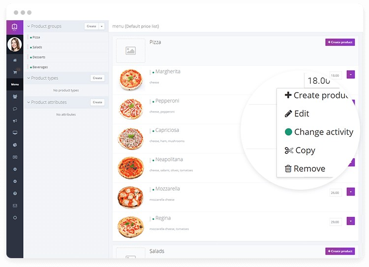 Menu management dashboard in online pizza ordering system.