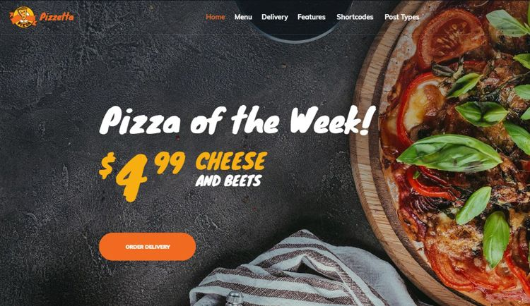 pizzeta theme - one of the best pizza website themes.