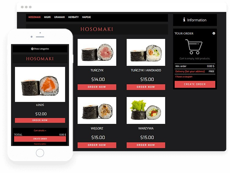 Online food ordering system on sushi restaurant website.