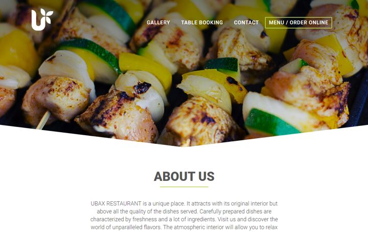 Ubax green restaurant website template