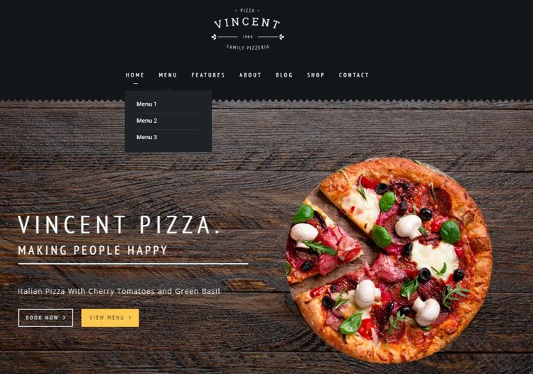 vincent theme - the best pizza restaurant website theme