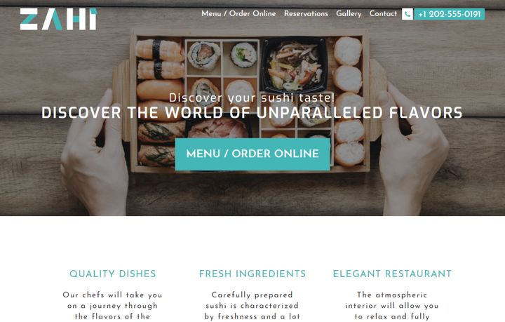 Zahi WordPress theme for beautiful restaurant menu photo presentation.