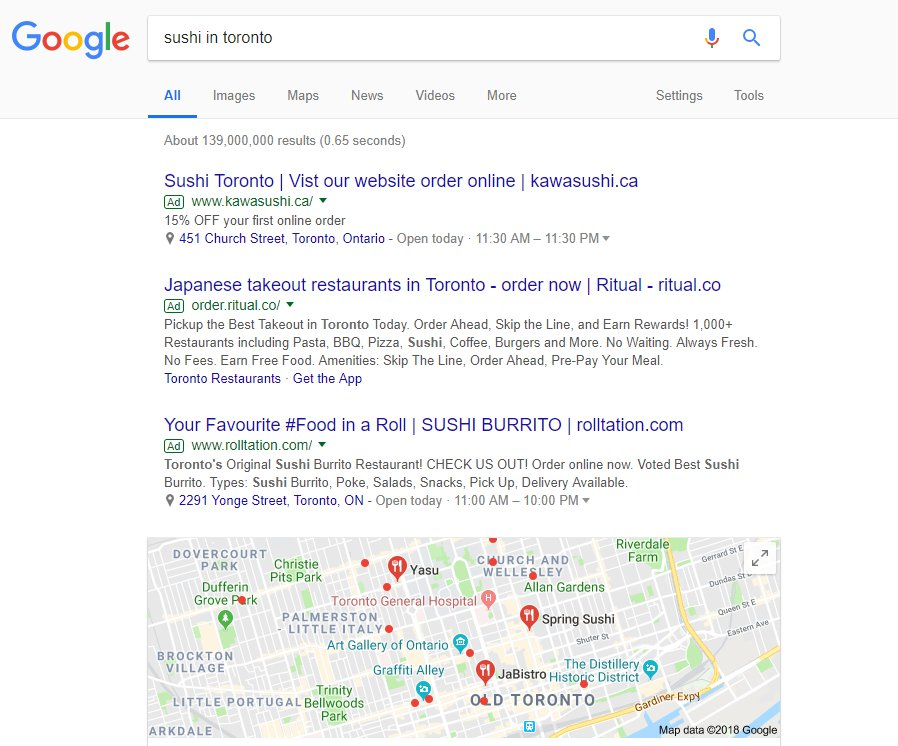 Google search results with restaurant SEO.