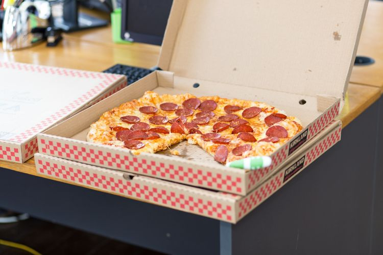 Photo of delivered pizza, ordered through online ordering system