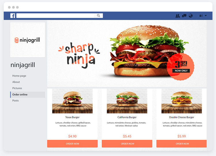 Restaurant social media page with online ordering feature