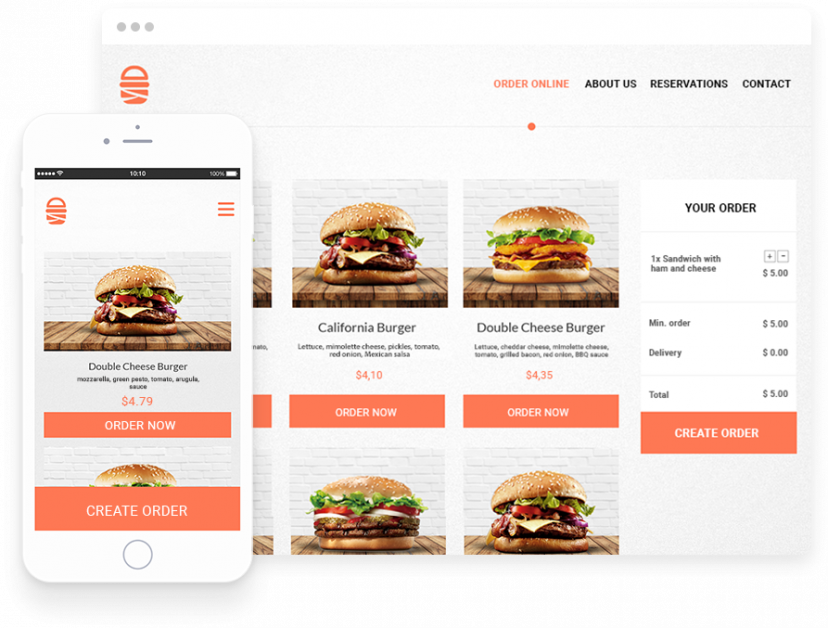 Menu with food descriptions published online on mobile device and desktop display.